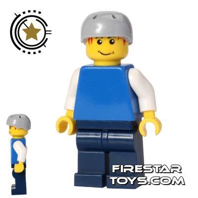 LEGO City Mini Figure - Plain Blue Top - Crash Helmet