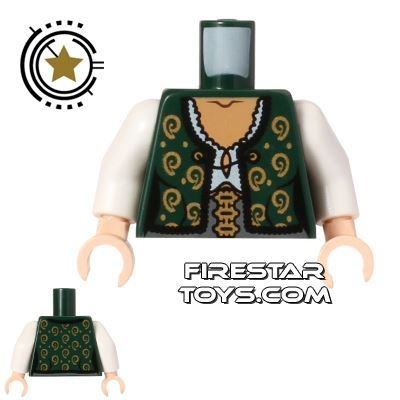 LEGO Mini Figure Torso - Green and Gold Shirt