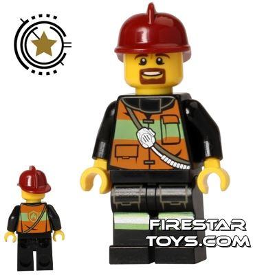 LEGO City Mini Figure - Fireman - Reflective Stripe Vest