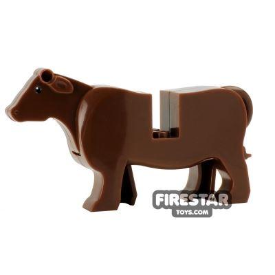 BrickForge Animals Mini Figure - Shorthorn Cow - Brown