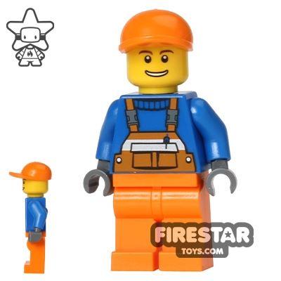 LEGO City Mini Figure - Orange Overalls and Cap