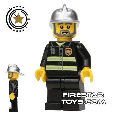 LEGO City Minifigure Fireman With Gray Beard