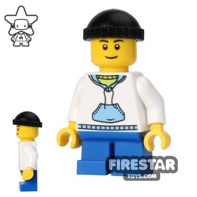 LEGO City Mini Figure - White Hoodie - Short Legs