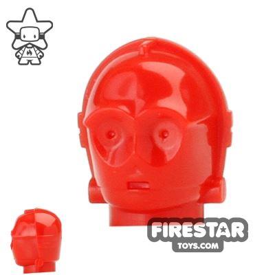 LEGO Mini Figure Heads - R-3P0 - Red