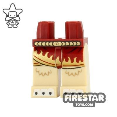 LEGO Mini Figure Legs - Lion - Skirt with Gold Flames