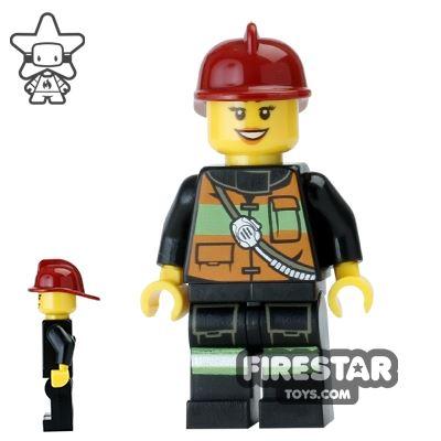 LEGO City Mini Figure - Fire - Female with Dark Red Helmet