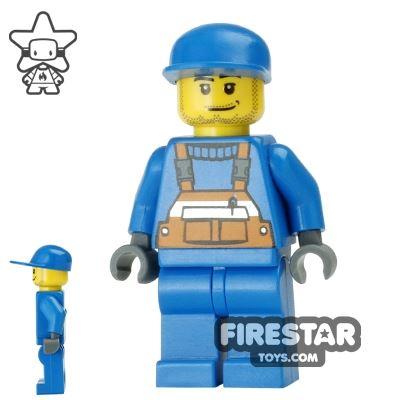 LEGO City Mini Figure - Construction Worker - Blue Overalls 6