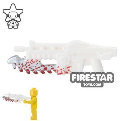 BrickForge - Gears of War - Shredder Gun - White with Blood Splatter