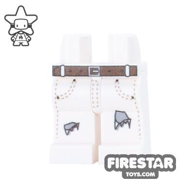 Custom Design Legs - Ripped Jeans - White with Gray Tear