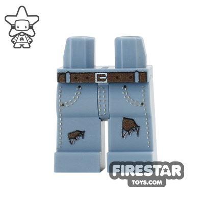 Custom Design Legs - Ripped Jeans - Sand Blue with Dark Flesh Tear