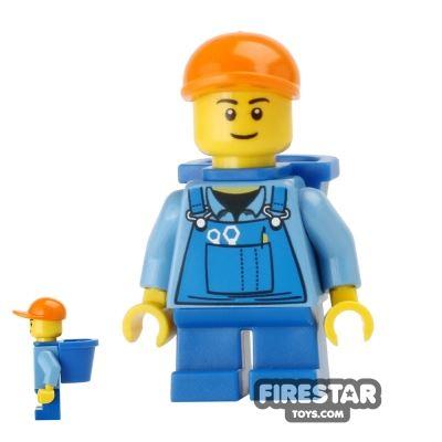 LEGO City Mini Figure - Short Legs - Overalls and D-Basket