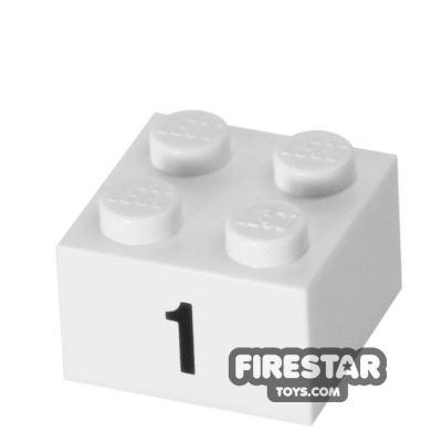 Printed Brick 2x2 - Number 1