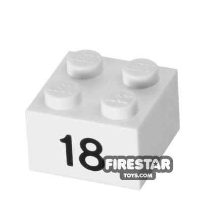 Printed Brick 2x2 - Number 18