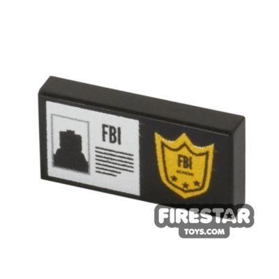 Printed Tile 1x2 - FBI Badge
