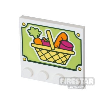 Printed Plate with studs 4x4 - Shopping Basket