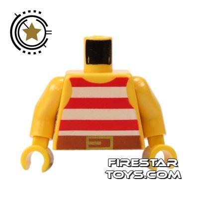 LEGO Mini Figure Torso - Red Striped Pirate Vest