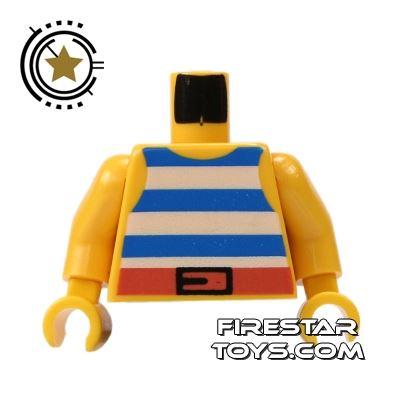 LEGO Mini Figure Torso - Blue Striped Pirate Vest