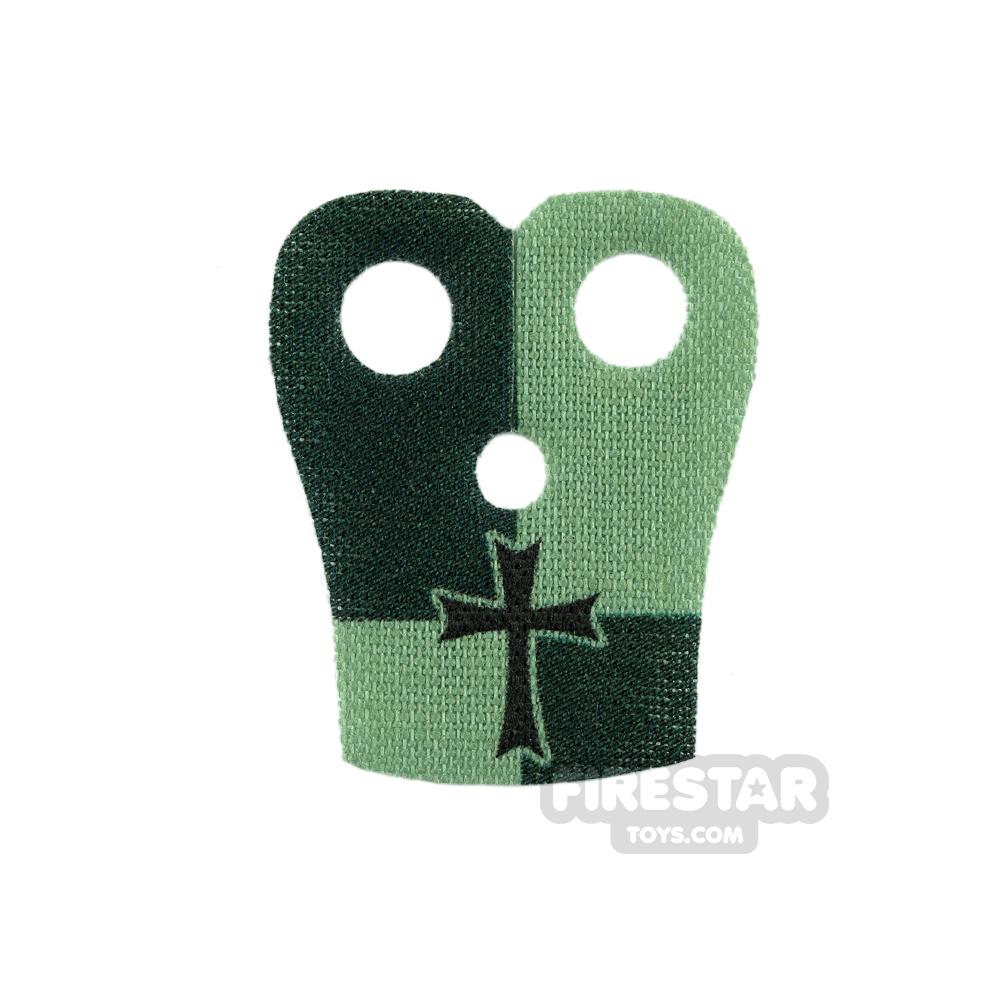 Custom Design Cape - Pauldron - Black Cross - Sand and Dark Green