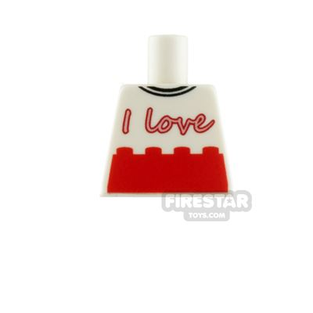 Engraved Minifigure Torso - I Love