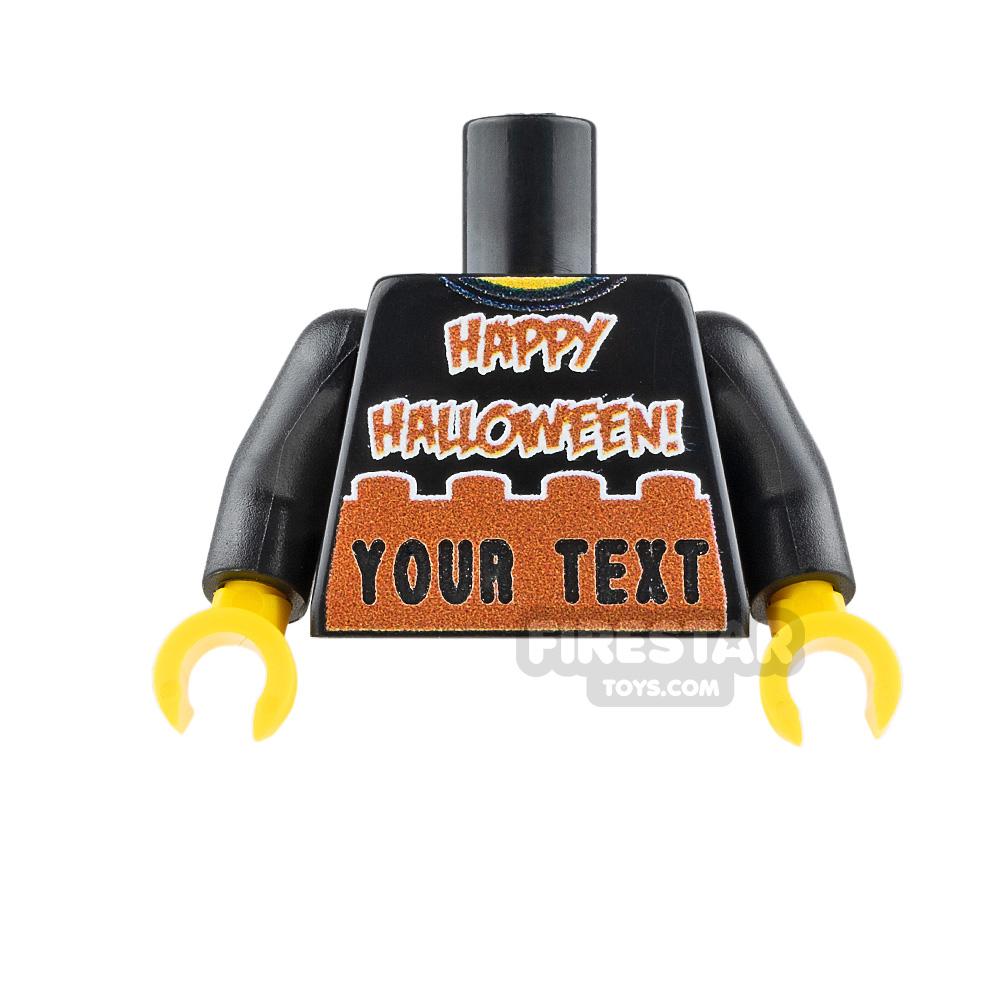 Engraved Minifigure Torso - Happy Halloween