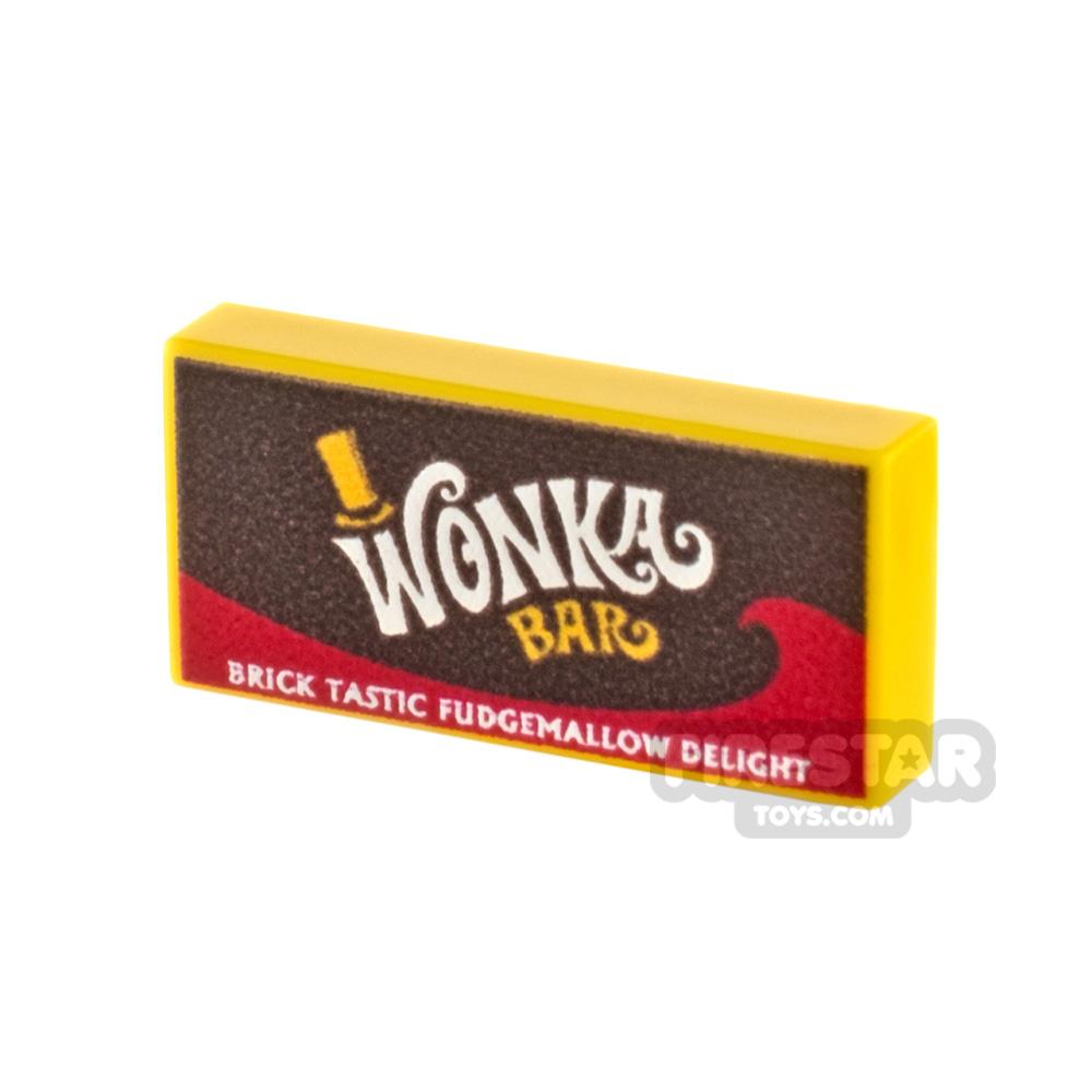 Printed Tile 1x2 - Wonka Bar - Fudgemallow Delight chocolate