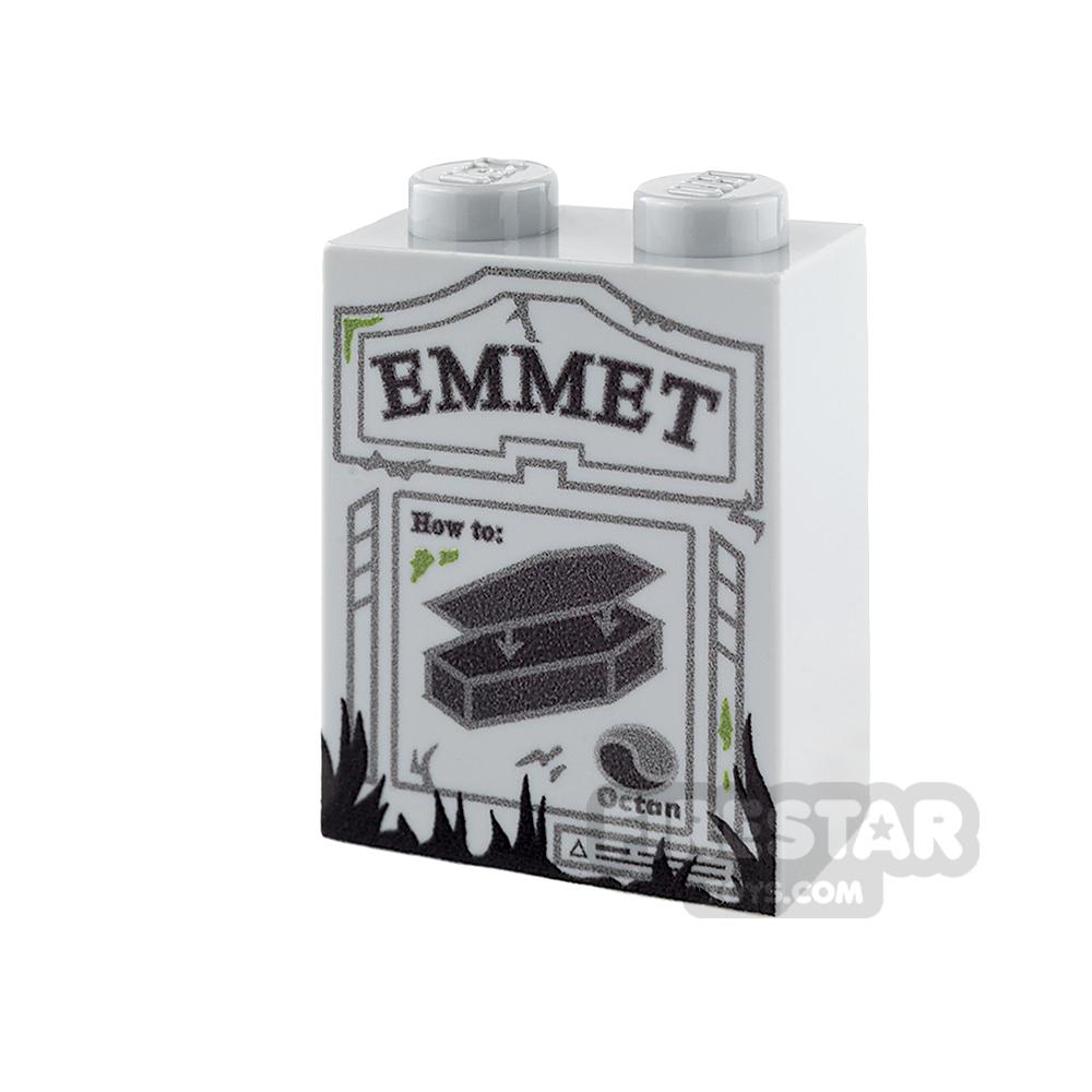 Printed Brick 1x2x2 - Tombstone - Emmet