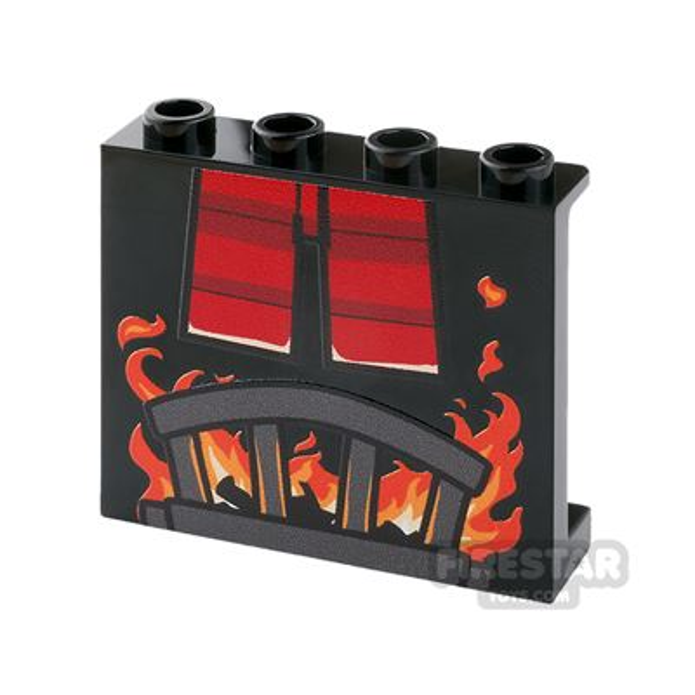 Printed panel 1x4x4 - Fireplace & Santa Legs