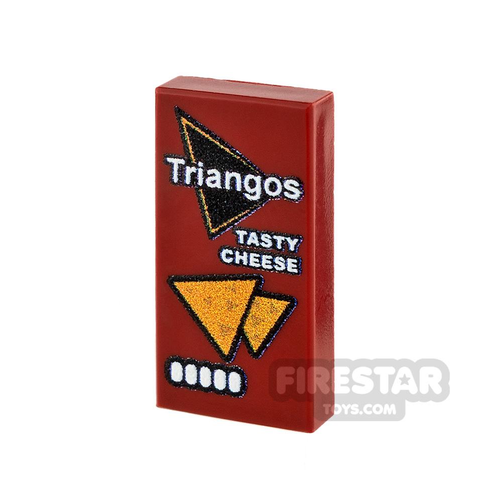 Printed Tile 1x2 Triangos Tasty Cheese