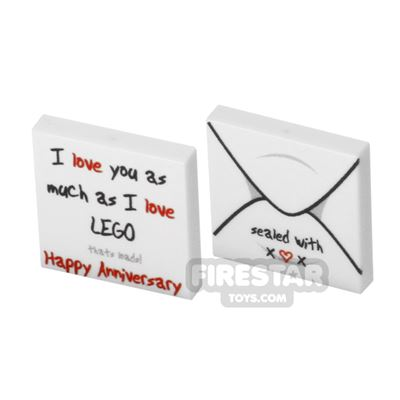 Printed Tile Set 2x2 - Happy Anniversary Card and Envelope