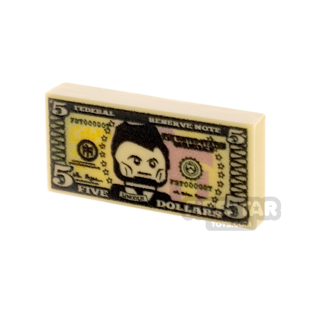 Printed Tile 1x2 - US Money - 5 Dollar Note
