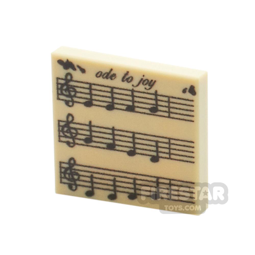 Printed Tile 2x2 - Ode To Joy - Music Sheet