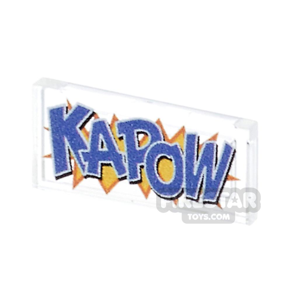 Printed Tile 1x2 - Comic Book 'KAPOW' Tile - Trans Clear