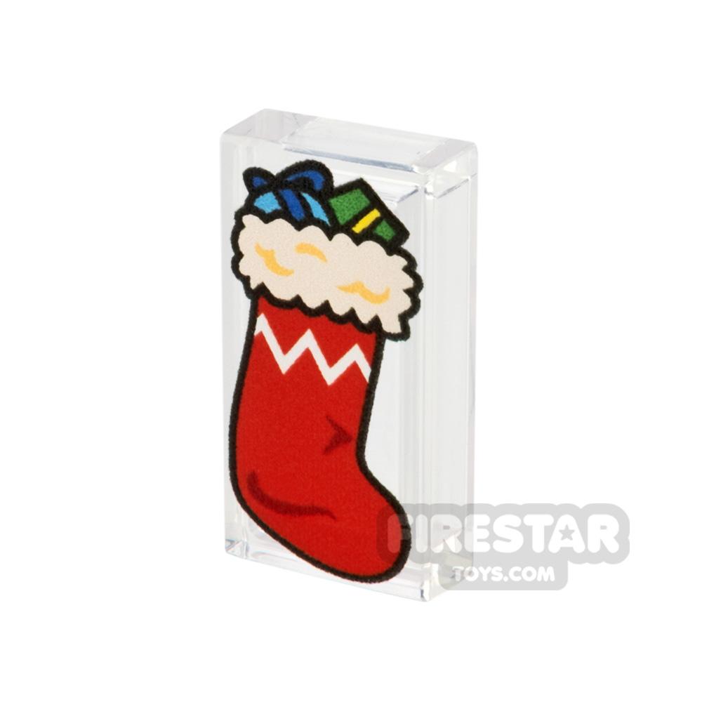Printed Tile 1x2 - Christmas Stocking - Red