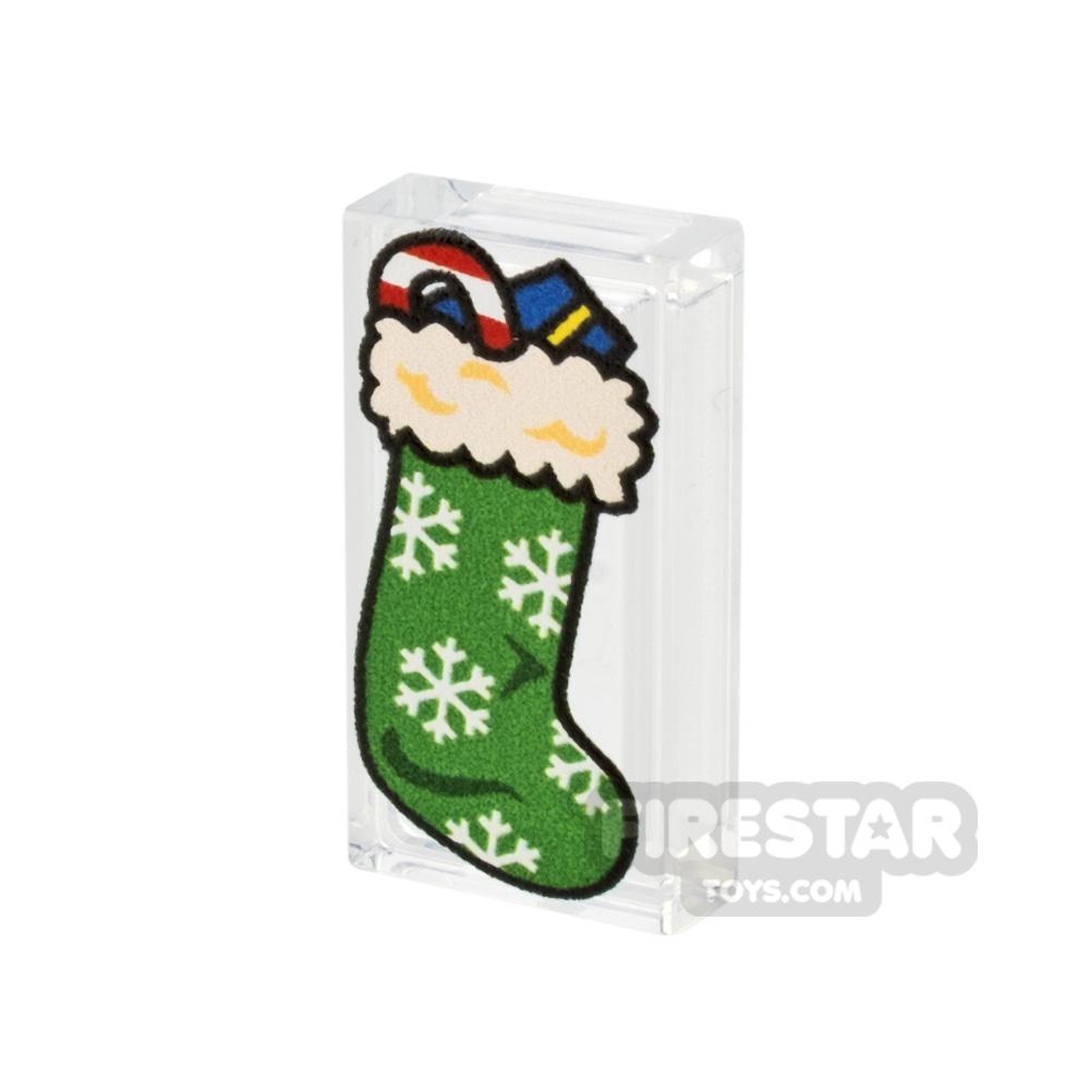 Printed Tile 1x2 - Christmas Stocking - Green