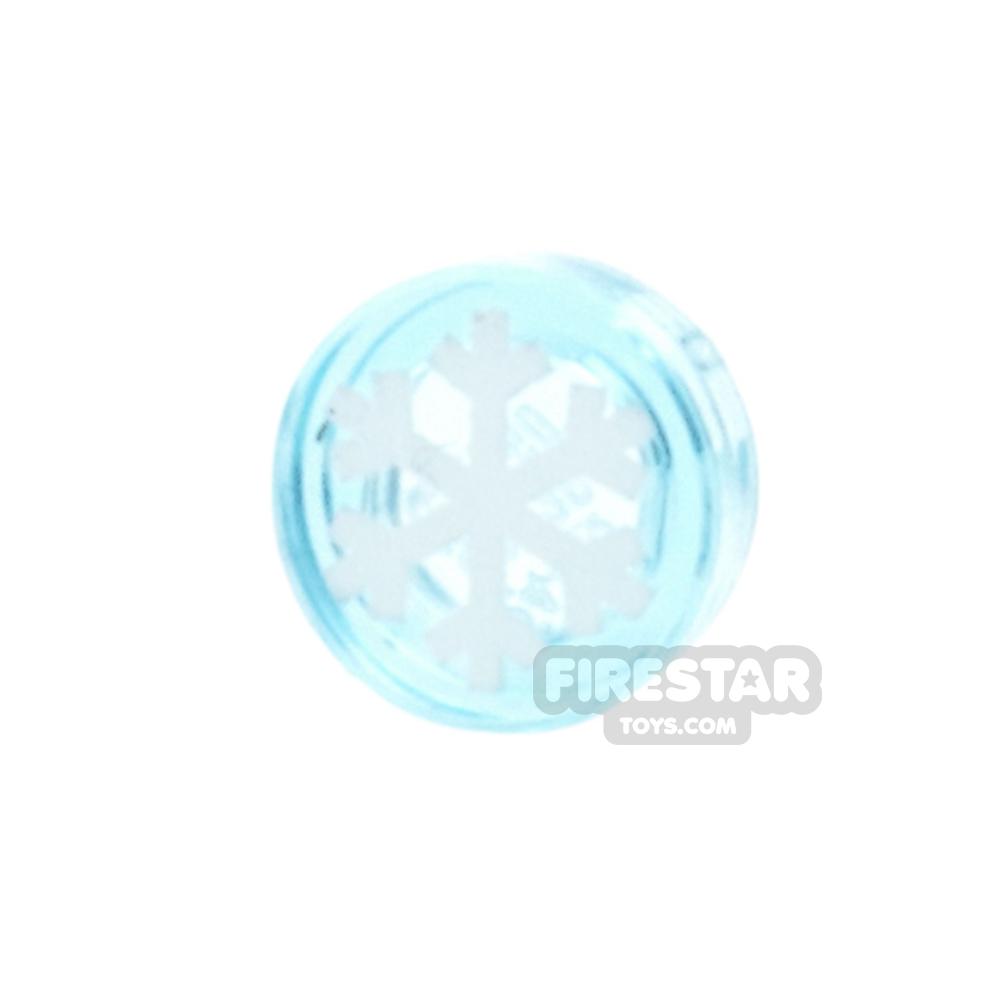 Printed Round Tile 1x1 - Snowflake - Trans Light Blue