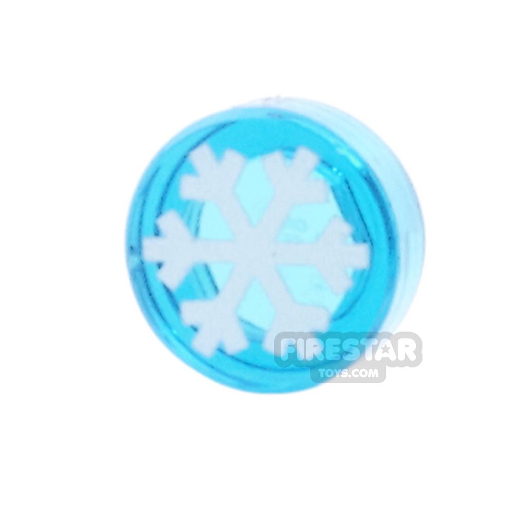 Printed Round Tile 1x1 - Snowflake - Trans Dark Blue