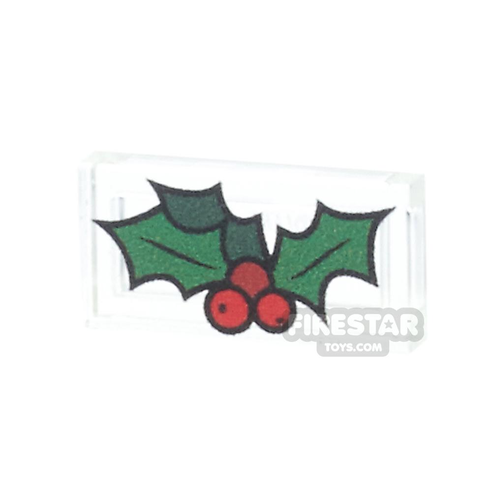 Printed Tile 1x2 - Christmas Holly