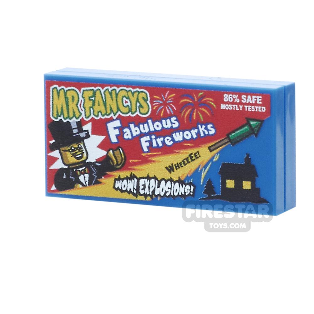 Printed Tile 2x4 - Mr Fancys Fabulous Box of Fireworks