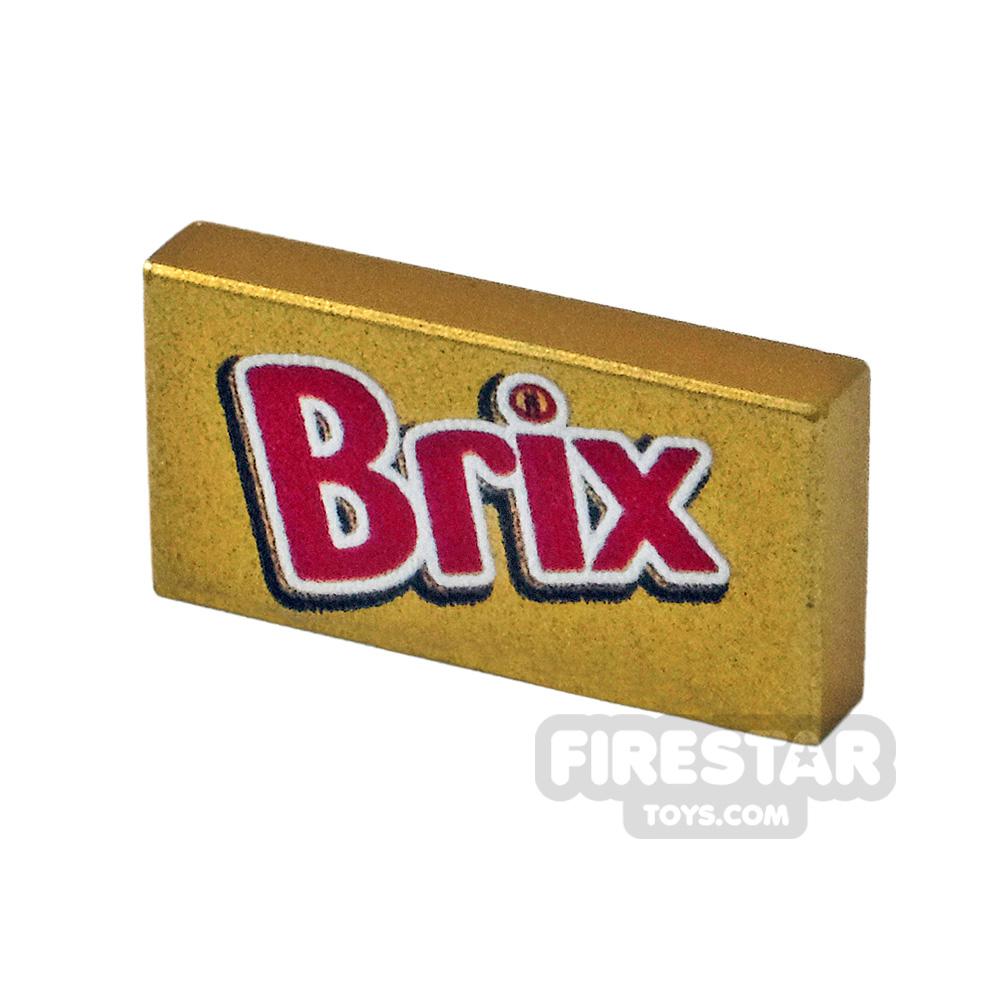 Printed Tile 1x2 Brix chocolate