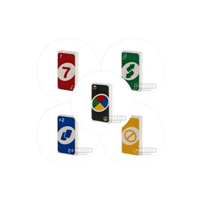 Printed Tiles - 1x2 Uno Card Pack of 5 Designs