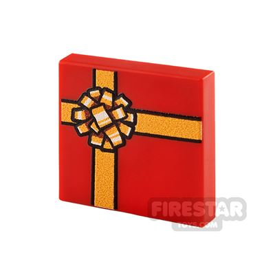 Printed Tile 2x2 Red Present with Gold Ribbon