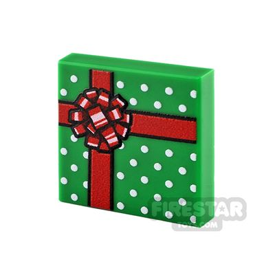 Printed Tile 2x2 Green Present with Red Ribbon