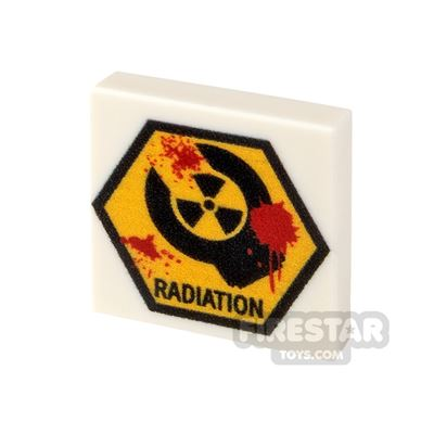 Printed Tile 2x2 Zombie Radiation Sign
