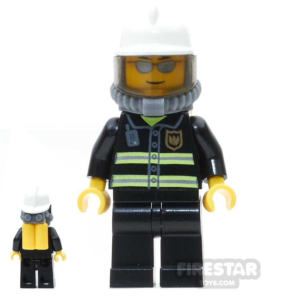 LEGO City Mini Figure - Fire - Yellow Airtanks - Silver Sunglasses