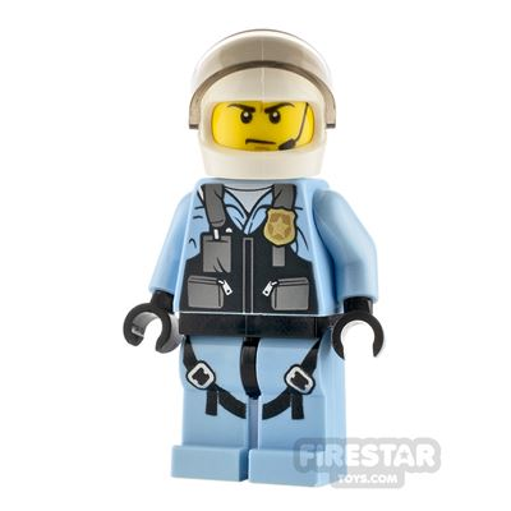LEGO City Minfigure Helicopter Pilot Bright Light Blue Jumpsuit