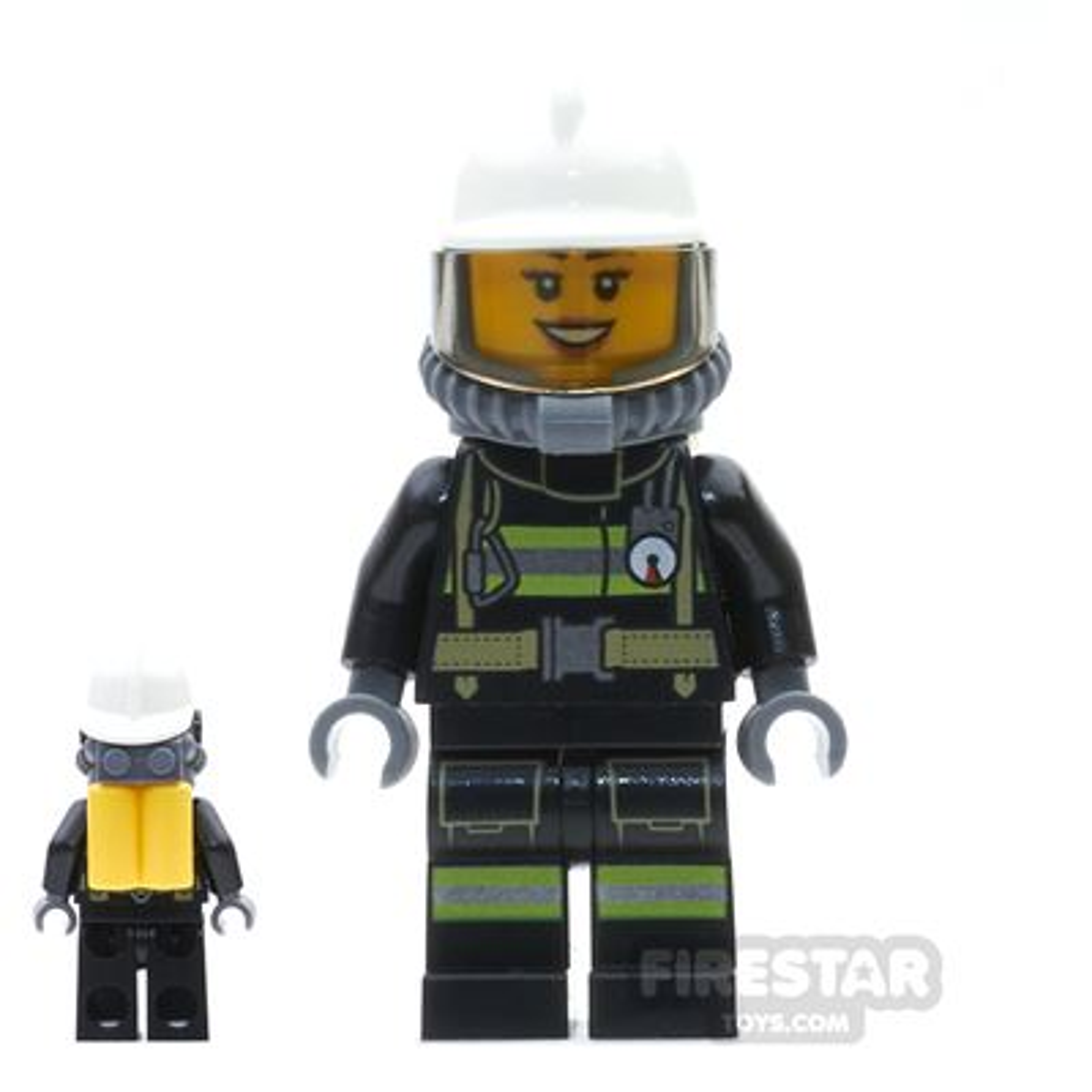 LEGO City Mini Figure - Firewoman - Airtanks And Smile