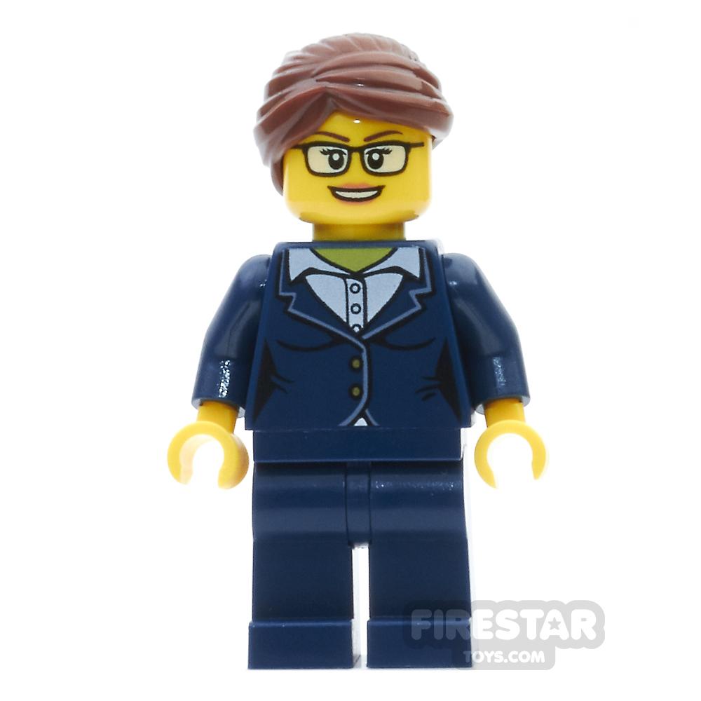 LEGO City Mini Figure - Businesswoman - Dark Blue Pants Suit