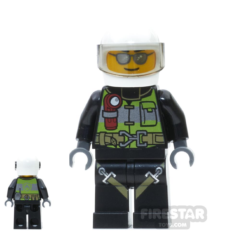 LEGO City Mini Figure - Fireman - Utility Belt and Flashlight - Silver Sunglasses