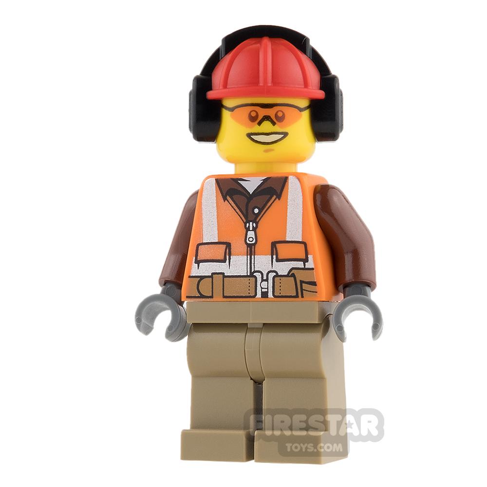 LEGO City Mini Figure - Construction Worker - Zipper and Headphones