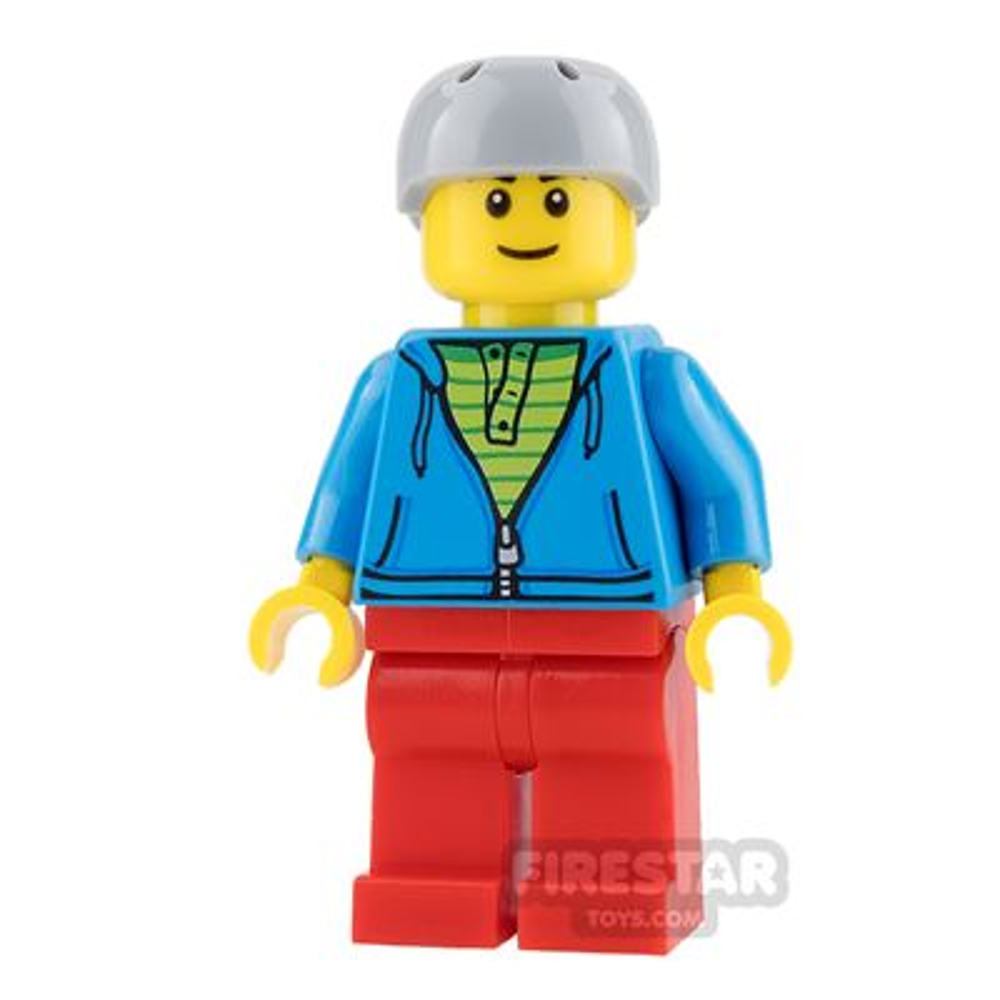 LEGO City Mini Figure - Bus Passenger - Dark Azure Hoodie